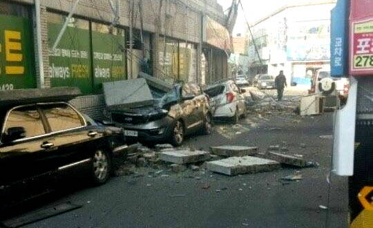 [포토] 규모 5.4 지진에 아수라장…포항 지진피해 현장